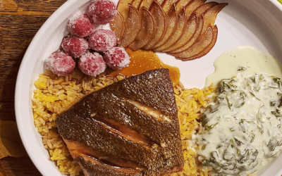 Glazed Salmon with Frosted Berries, Baked Pears & Saffron Rice